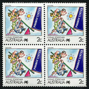 1988-Living-Together-Industry-SG1112-Block-of-Four-MUH-Mint-Stamps-Australia