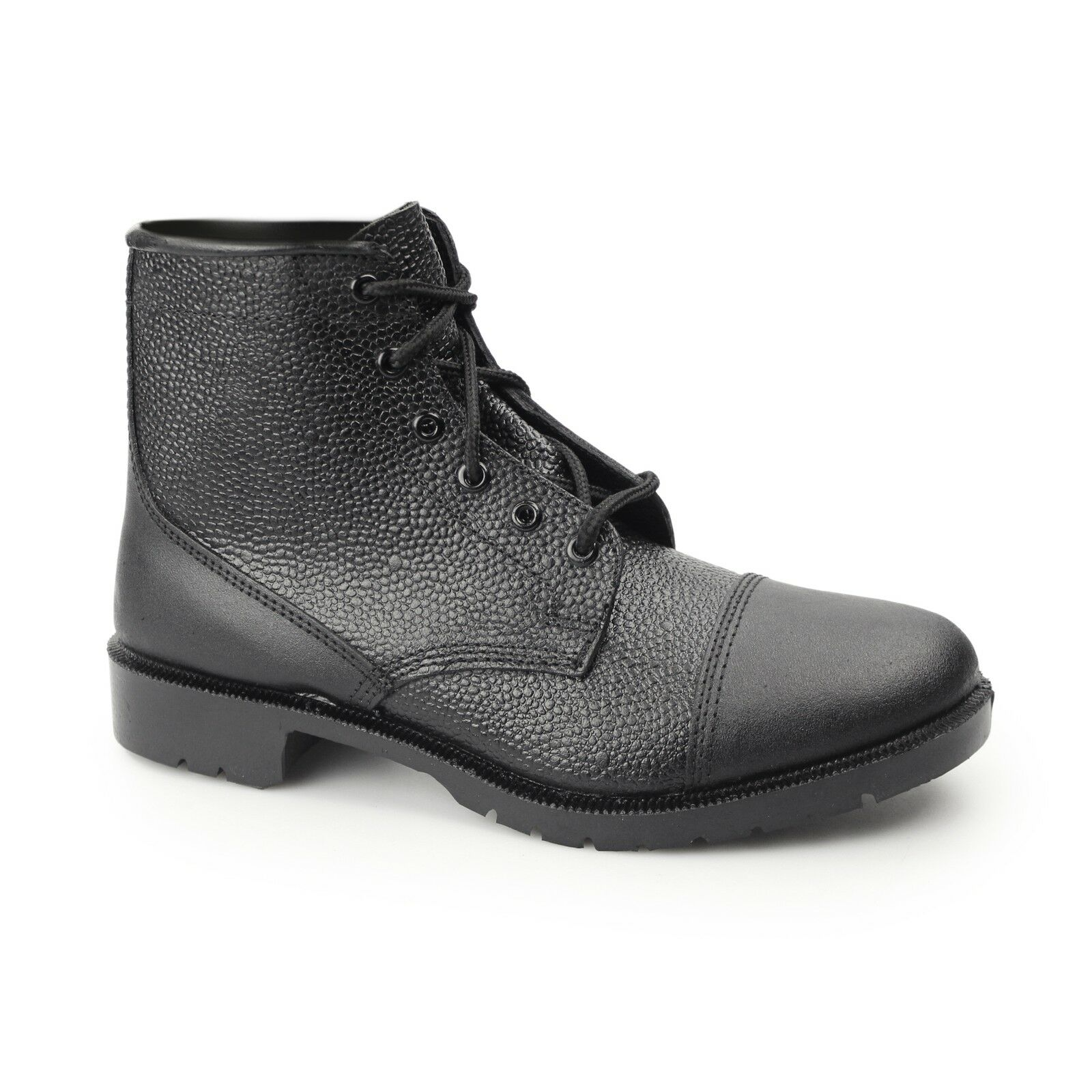 Grafters Mens Ladies NON-SAFETY Grain Leather Lace Up Cadet Work Boots Black