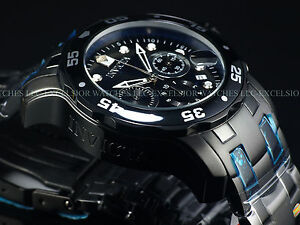Mens-Invicta-Pro-Diver-Scuba-Military-Combat-BLACK-Chrono-Swiss-Parts-Watch-New