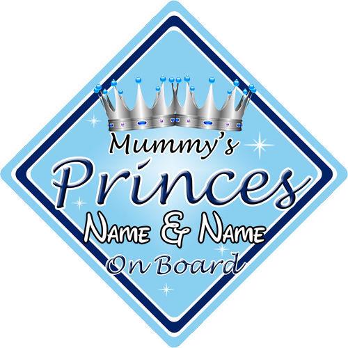 bleu Personnalisé enfant//bébé à bord voiture signe ~ mummys princes à bord ~ l
