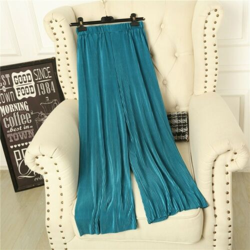 Women Wide Leg Pants Pleated Trousers Ice Silk Casual Loose Solid High Waist