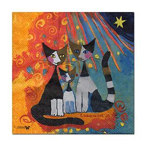 4-Motiv-Servietten-Napkins-Tovaglioli-Wachtmeister-Katzen-Katzenmotiv-365