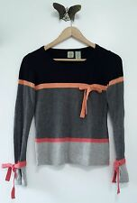 Anthropologie Colorblock Sweater by HWR with Bow Accents, Black & Pink, Size S