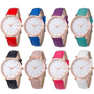 Fashion-Men-Women-039-s-Leather-Watch-Stainless-Steel-Analog-Quartz-Wrist-Watches