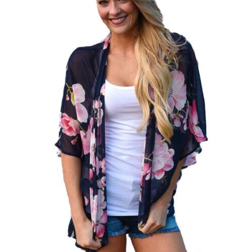Women Floral Shawl Long Kimono Boho Floral Coats Cardigan Outwear Blouse Chiffon
