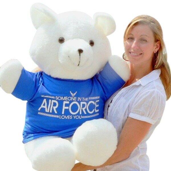 Hecho Americano Gran Oso De Peluche De 36 de pulgada Soft, Camiseta alguien en la fuerza aérea te ama