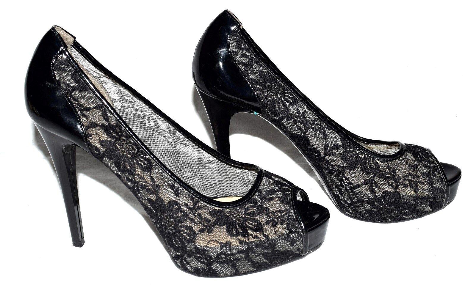 GUESS Gaminata Black Lace Faux Patent Leather Stiletto Heels w  Peep Toe Sz 10 M