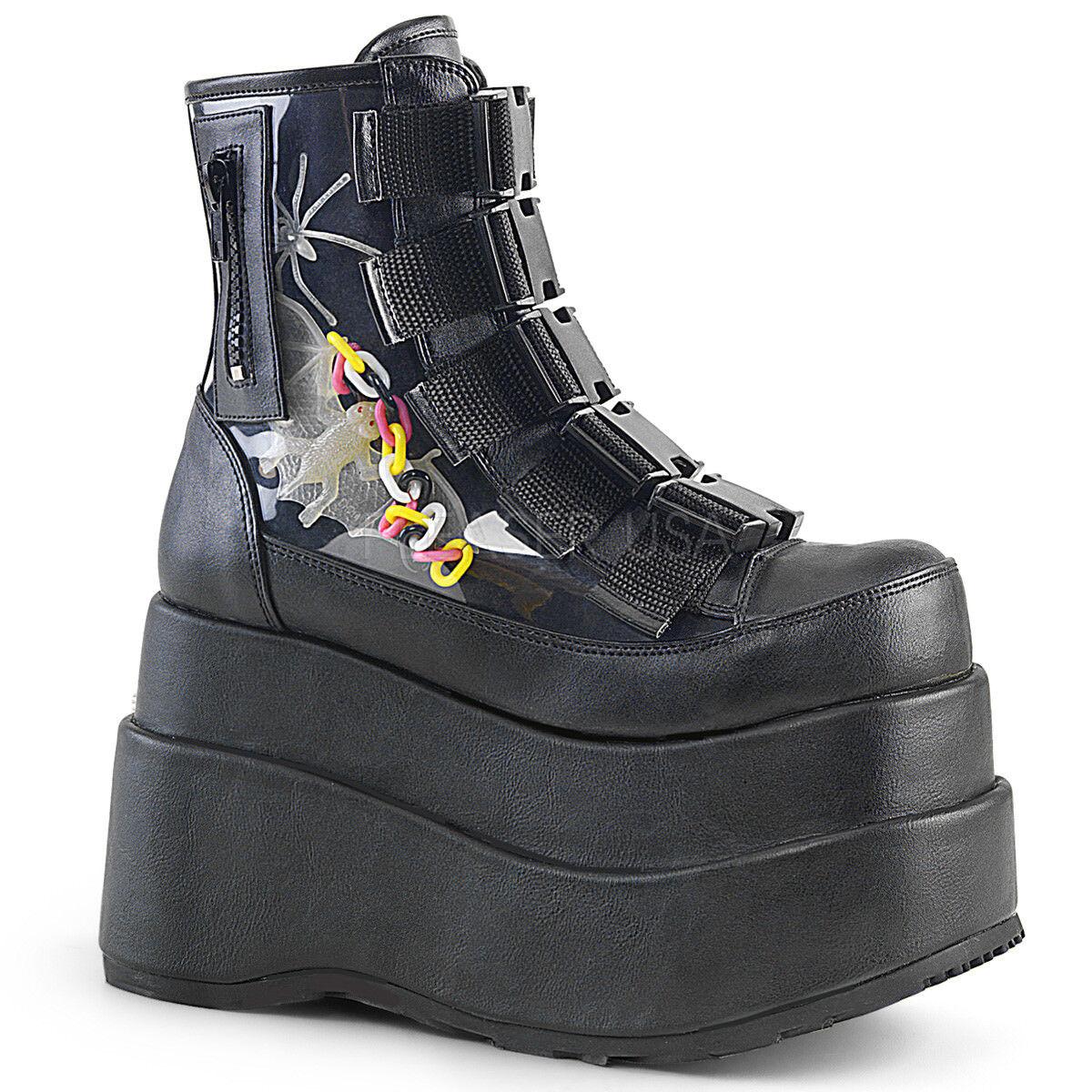 Enorme Demonia 4.5  plataforma plataforma  Vegano Negro Araña Murciélago Hebilla De Tobillo botas Gótico 6-12 7f67f0