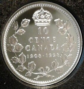 1908-1998-CANADA-UNC-PROOF-SILVER-TEN-CENTS-Coin-RCM-90th-Anniversary