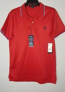 U-S-Polo-Assn-NWT-Men-039-s-Golf-Polo-Shirt-Red-Sz-S