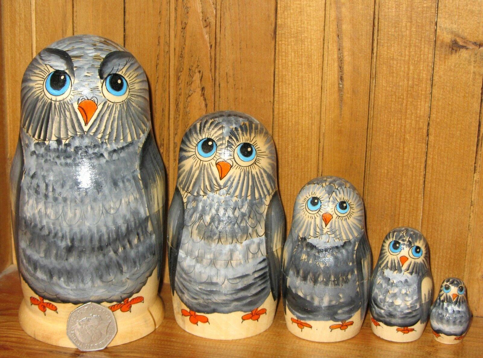 Russian grau OWL Matryoshka nesting dolls 5 Piece MATT Babushka SEMYONOVA