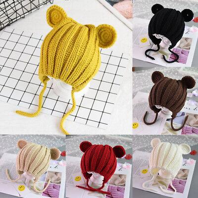 Newborn Baby Girls Cat Ears Knitting Headgear Warm Ear Guard Kids Hat 8M-3Y S9