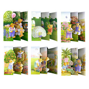 36-Teddy-Bears-Garden-Blank-3D-Effect-Concertina-Fold-Greetings-Cards