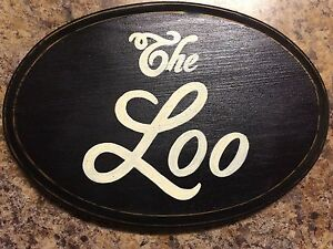 The Loo English Country Chic Bathroom Restroom Sign Oval