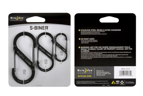 Nite Ize S-Biner 3 Pack Black Stainless Steel Sizes #2,#3 and #4 Carabiner