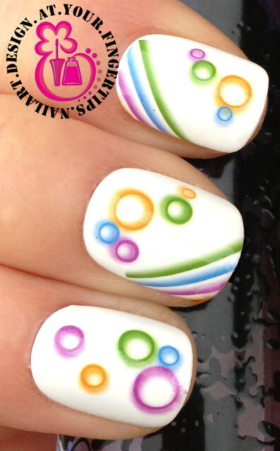 NAIL ART WRAP WATER TRANSFER DECALS COLOURFUL CIRCLES/BUBBLES & STRIPES #36