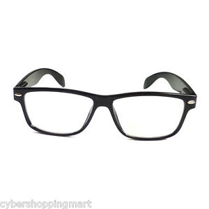 390ffdc9325 BLACK Frame Retro Geek Nerd Non Prescription Vintage Clear Lens Eye ...