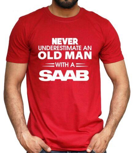 4XL SAAB Car T-shirt Never Underestimate Old Man Classic Retro NEW Mens Top S