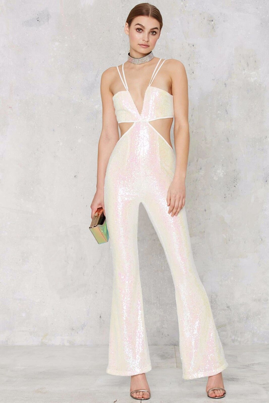 GLAMgoldUS WHITE PINK IRIDESCENT SEQUIN PARTY BLOGGERS CELEB JUMPSUIT BNWT