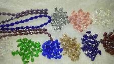 Joblot 12 strings mixed colour Tear drop shape Crystal beads new wholesale lot B