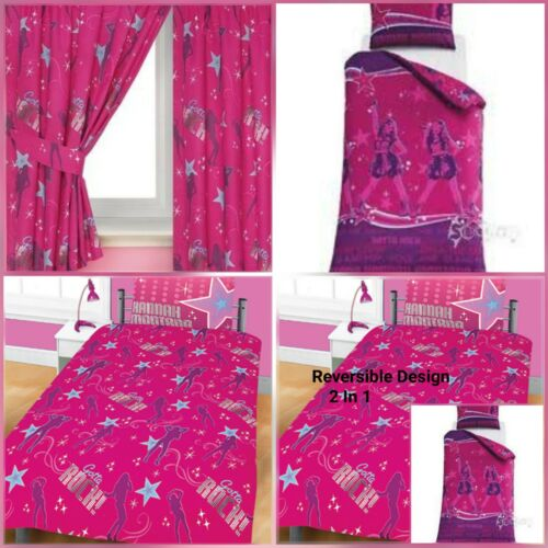 66 X 54 Inches DISNEY HANNAH MONTANA ON STAGE SINGLE DUVET /& MATCHING CURTAINS
