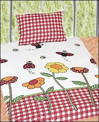 Kinder-bettwäsche Blumen Käfer Marienkäfer Biene 100 x135 cm Baumwolle  Cretonne