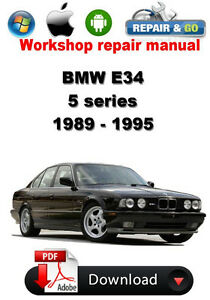 bmw e34 1989 1995 workshop repair manual ebay rh ebay com 1995 BMW M5 1995 BMW Front Bumper