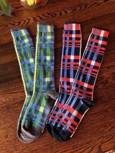 Ladies-Navy-and-Grey-Plaid-Knee-High-socks