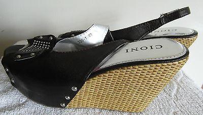 Cioni Cuña Plataforma Verano Sandalias Con Imitación De Piedras Preciosas Decoración-Nuevo