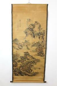 Grosses-Rollbild-aquarellierte-Druckgrafik-Landschaft-Gelehrte-China