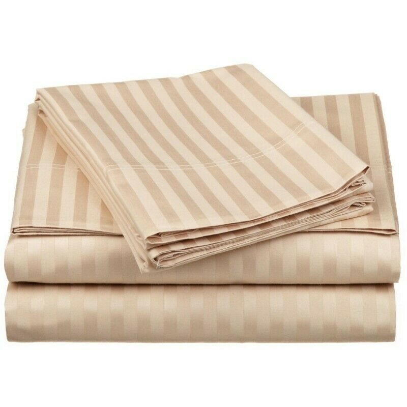 Beige   Tan Stripe Sheet Set Choose Sizes 1000 Thread Count Pure Egyptian Cotton