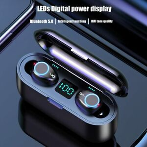 Detalles de Auricular Bluetooth 5.0 TWS Auriculares estéreo mini audífonos inalámbricos intraurales Auriculares 2020 ver título original