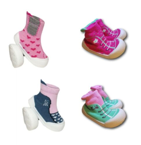 Baby Infant Girl Indoor Non Slip Socks Slippers With Rubber Sole Size 3.5-5 UK