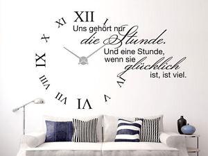 Wandtattoo Uhr XXL mit Uhrwerk für Wohnzimmer Spruch Uns gehört nur ...