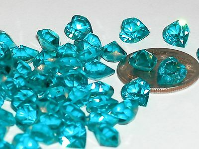 10pc Sparkly Aqua Swarovski Heart Crystals wholesale partial unfoil gems 6x6.5mm