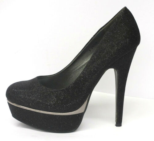 F9605 *SALE* Ladies Spot On High Heel Platform Glitter Effect Court Shoes