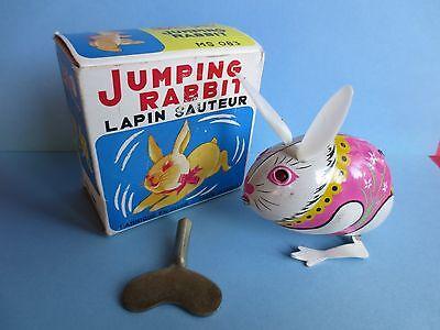 vtg tin litho mechanical jumping bunny rabbit key wind up toy orig box