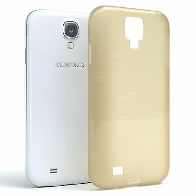 Schutz Hülle für Samsung Galaxy S4 Brushed Cover Handy Case Gold