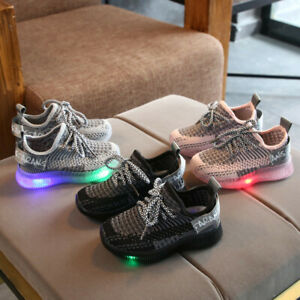 Led Children Boys Girls Light Up Sneakers Baby Kid Luminous Shoes Mesh Trainers