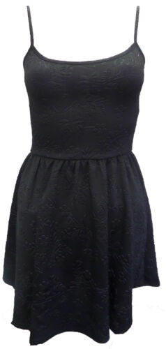 Size 6-14 Womens Ladies New Black Sleeveless Embossed Skater Style Dress