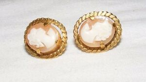 ANTIQUE-ROLLED-GOLD-ETRUSCAN-REVIVAL-CAMEO-EARRINGS-SCREW-BACK