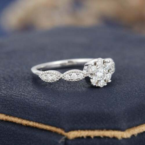 Details about  /0.30Ct Round Diamond Unique Art Deco Cluster Engagement Ring 14K White Gold Over