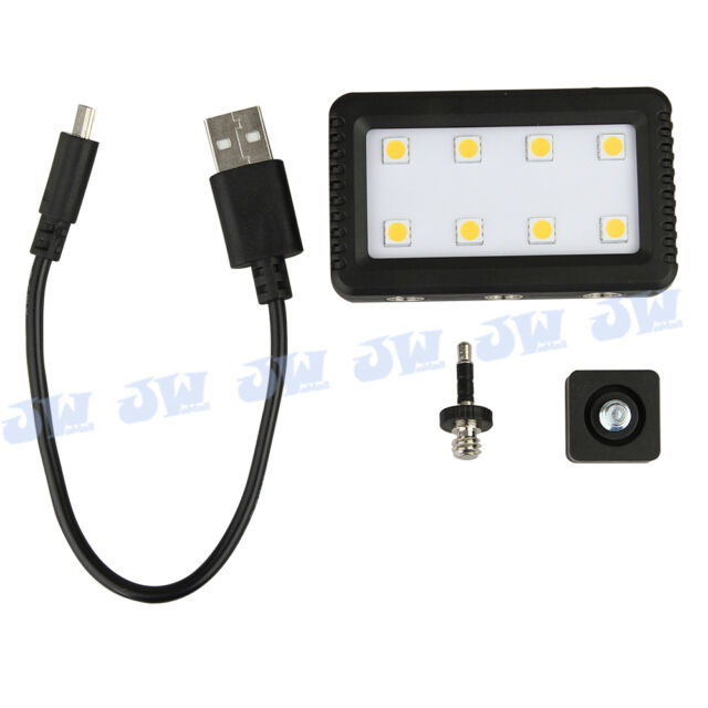 JJC Mini Adjustable LED Light with 2 Adapters for Camera Camcorder & Cellphone
