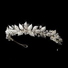 Vintage Silver Swarovski Crystals & Rhinestone Leaf Accented Bridal Tiara