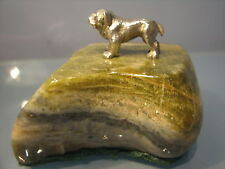 ~ Silver miniature bulldog on veined green stone plinth  paperweight 1911