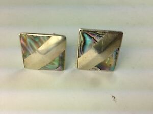 VINTAGE-VERY-SCARCE-MODERNIST-MCM-STERLING-SILVER-MARKED-CUFFLINKS