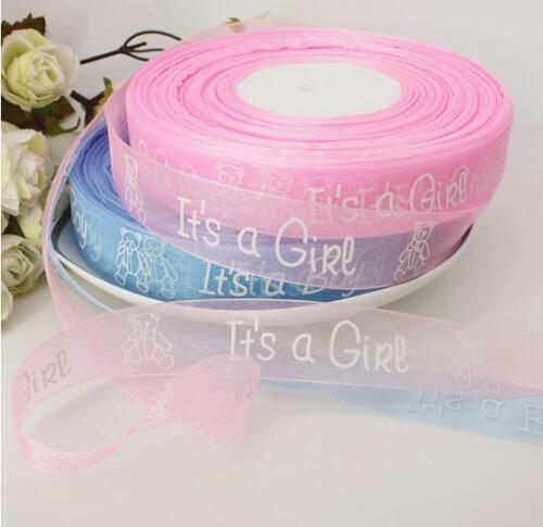Organza Ruban c/'est une fille//garçon Gâteau Ruban 25 mm largeur bleu rose Baby shower
