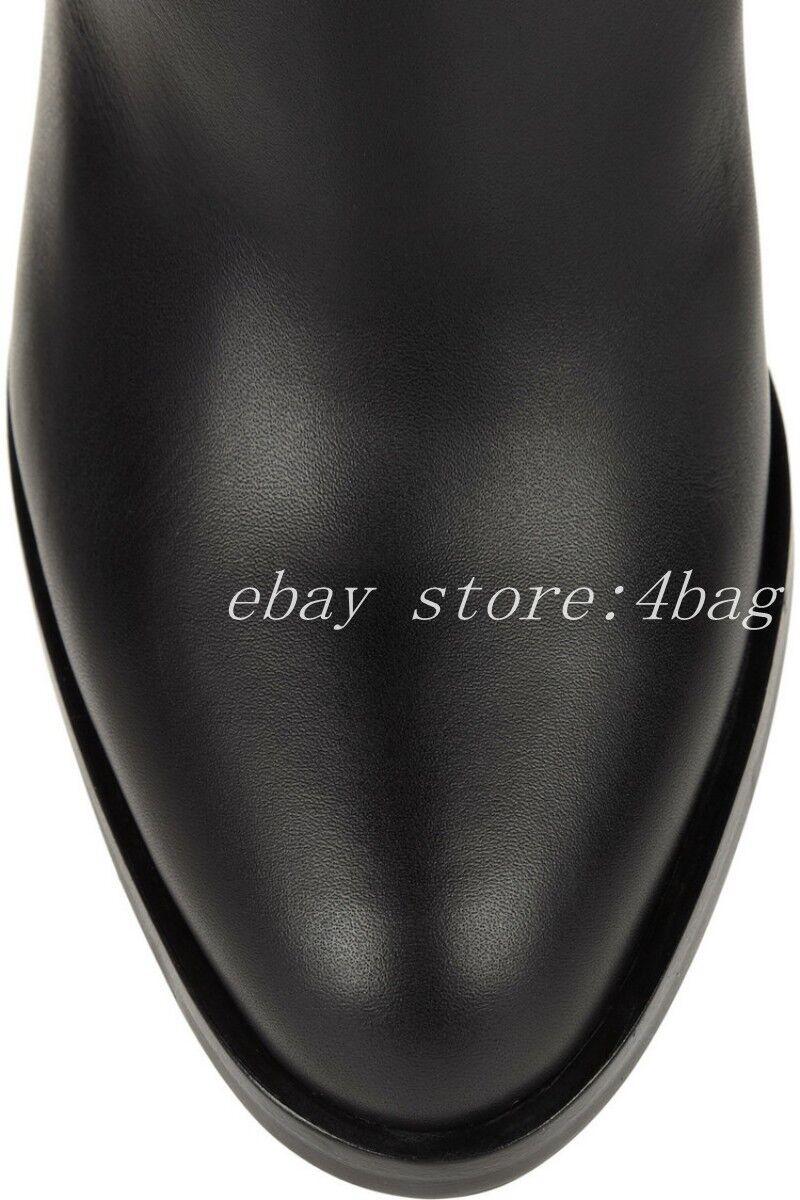 de nouvelles nouvelles nouvelles bottes de cuir noir des femmes à hauteur de genou talons de chaussures pointues du bloc sz | Bien Connu Pour Sa Fine Qualité  4f7c9e