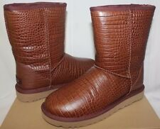 UGG Classic Short Croco Spice Leather Sheepskin Boots US 8 Womens 1012900