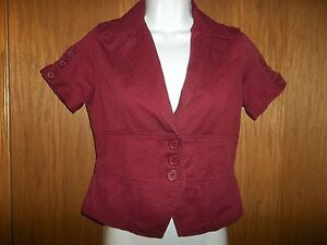f5596c1b163 Details about NEW WOMEN S SO CRANBERRY RED JACKET BLAZER SMALL MSP  40.00  SHORT SLEEVES KOHL S
